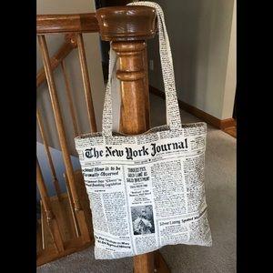 Kate spade newspaper print canvas bag tote